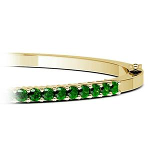 Emerald Bangle Bracelet in Yellow Gold
