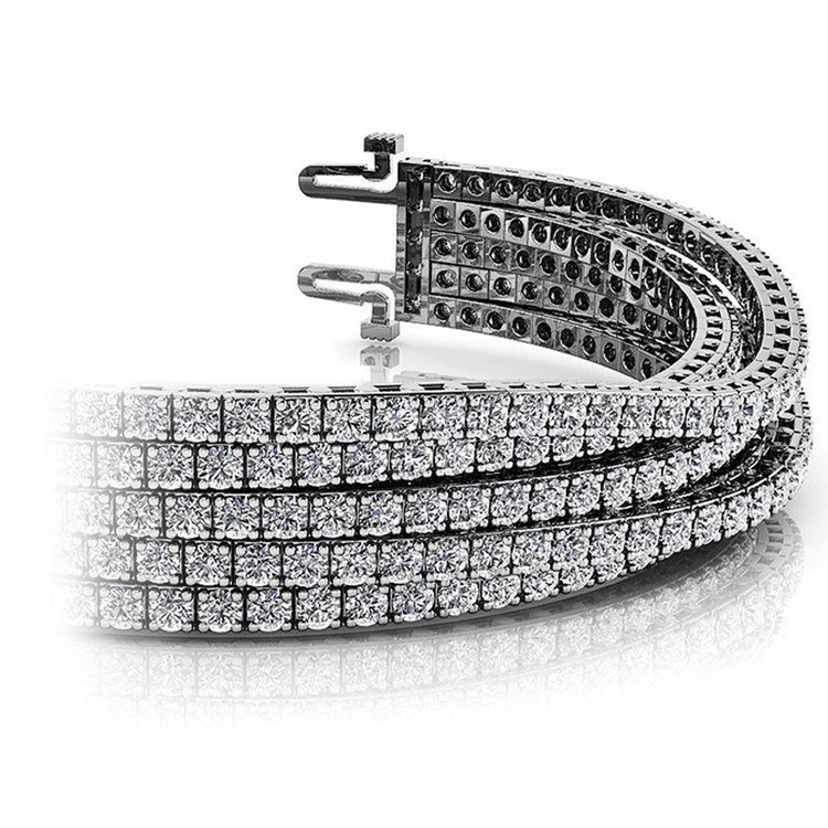 Five Row Diamond Bracelet in White Gold (10 ctw) | 01