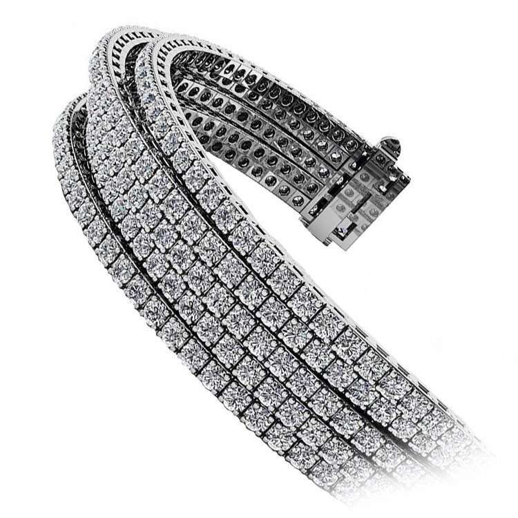 Five Row Diamond Bracelet in White Gold (10 ctw) | 02