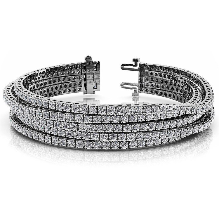 Five Row Diamond Bracelet in White Gold (10 ctw) | 03