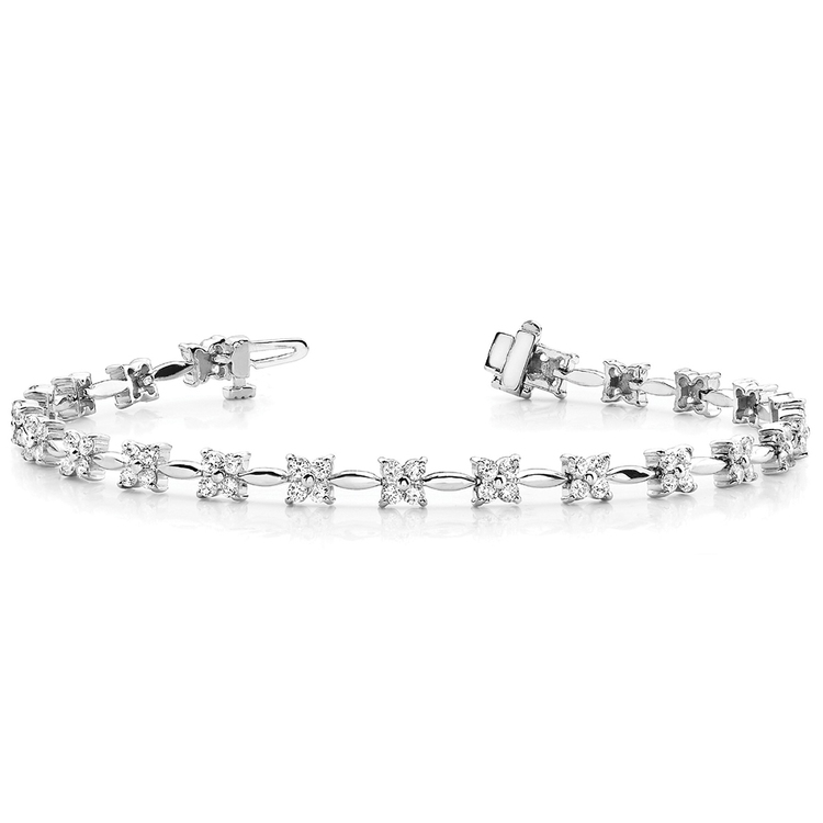 Four Petal Diamond Bracelet in White Gold (2 ctw)   03