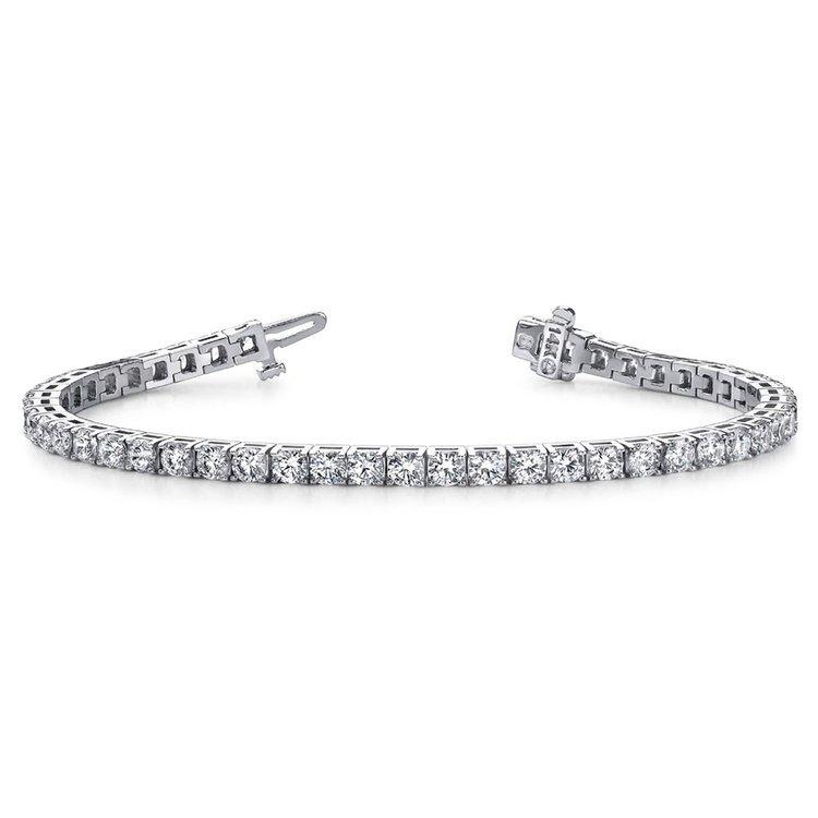 Four Prong Diamond Tennis Bracelet in White Gold (3 ctw) | 03