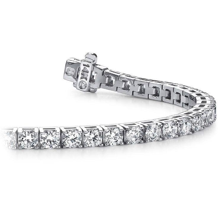 Four Prong Diamond Tennis Bracelet in White Gold (3 ctw) | 01