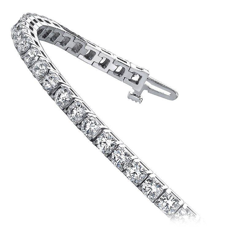 Four Prong Diamond Tennis Bracelet in White Gold (3 ctw) | 02