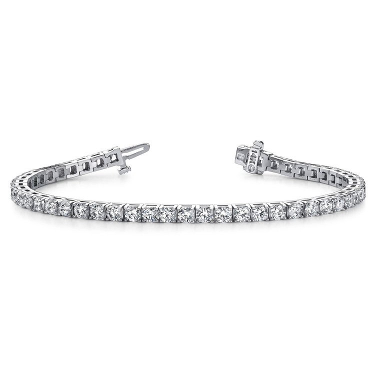 Four Prong Diamond Tennis Bracelet in White Gold (4 ctw) | 03