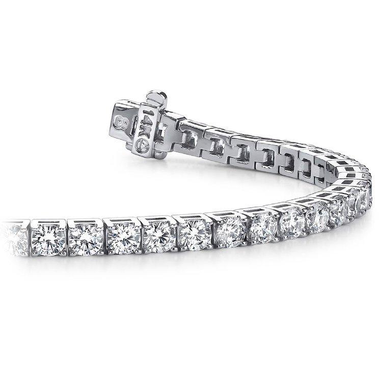 Four Prong Diamond Tennis Bracelet in White Gold (4 ctw) | 01