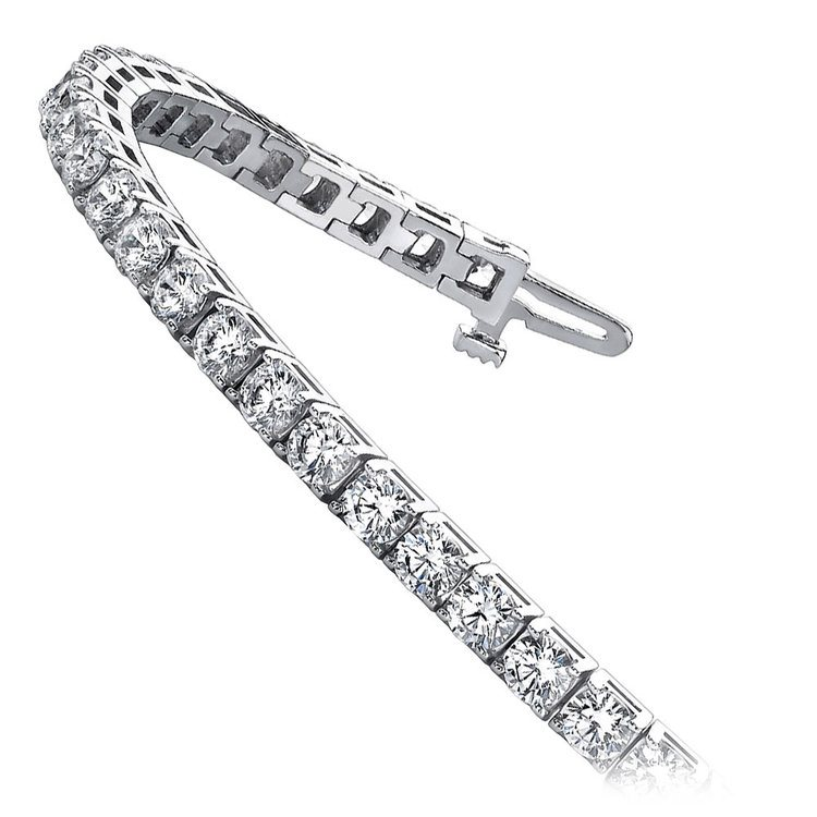 Four Prong Diamond Tennis Bracelet in White Gold (4 ctw) | 02