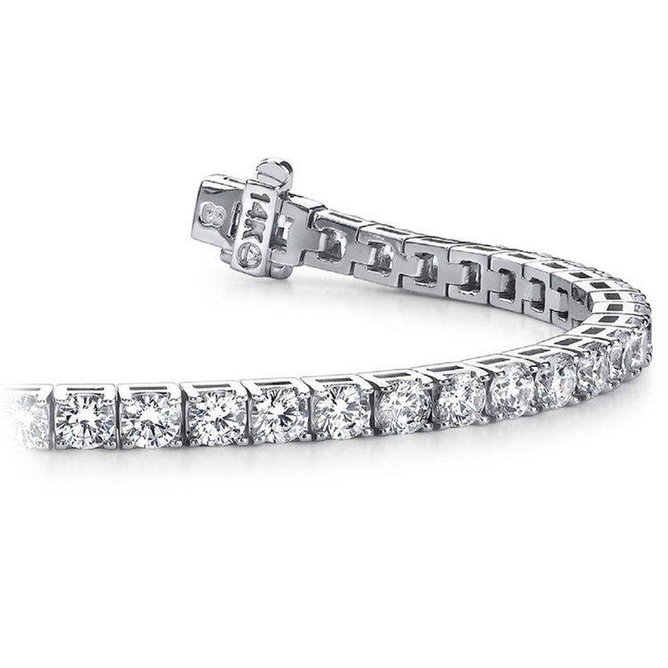 Classic Diamond Bracelet In White Gold (5 Carat) | 01