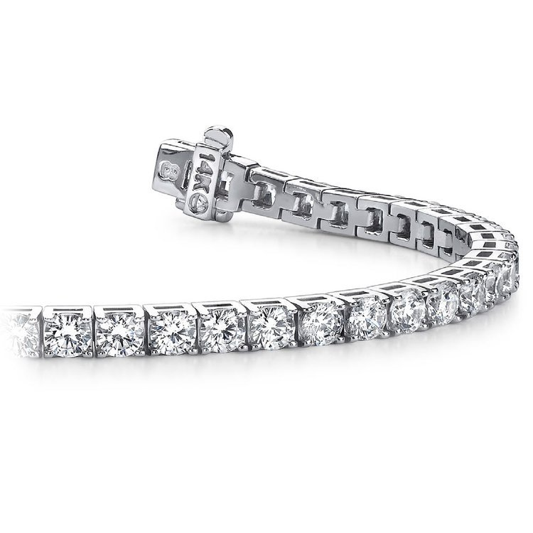 Four Prong Diamond Tennis Bracelet in White Gold (2 ctw) | 01