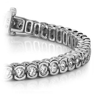 Half Bezel Diamond Bracelet in White Gold (3 ctw)