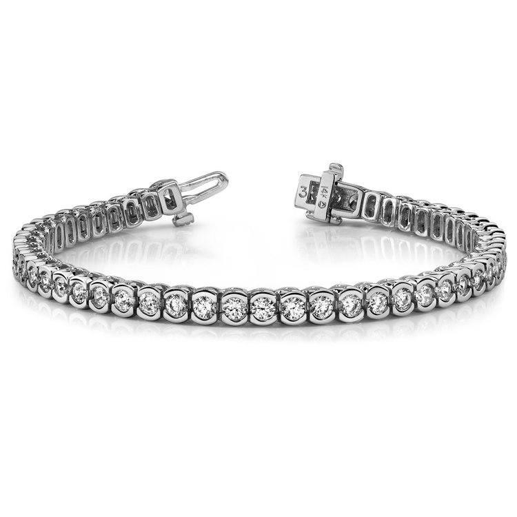 Half Bezel Diamond Bracelet in White Gold (3 ctw) | 03