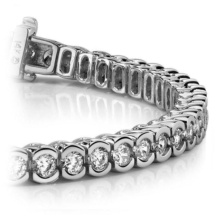 Half Bezel Diamond Bracelet in White Gold (3 ctw) | 01