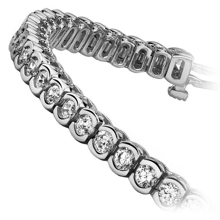 Half Bezel Diamond Bracelet in White Gold (3 ctw) | 02