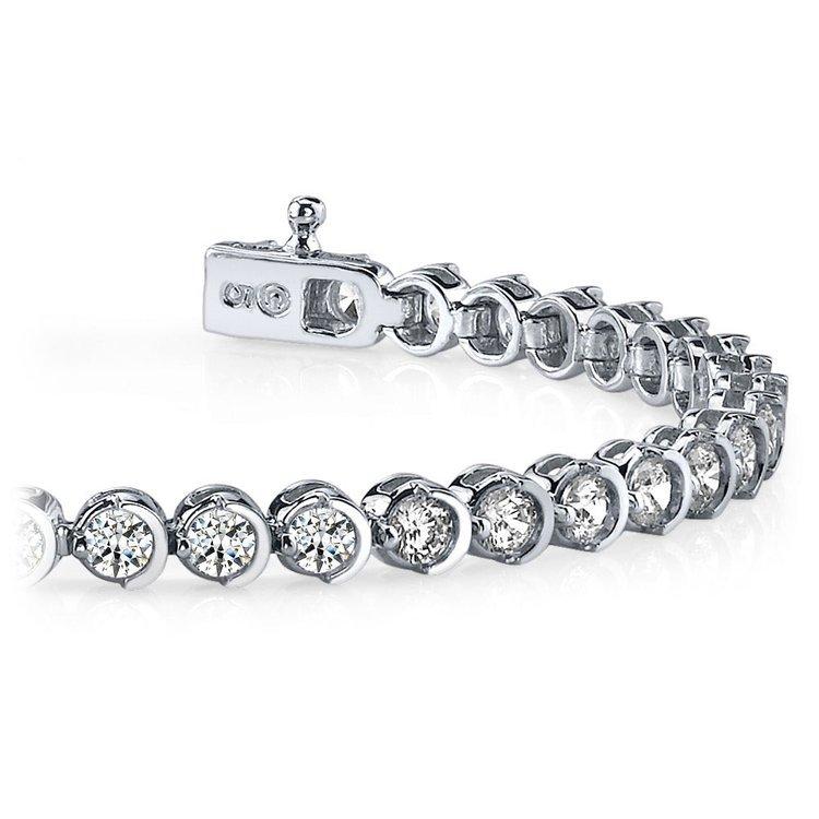 Half Moon Diamond Bracelet in White Gold (1 ctw) | 01
