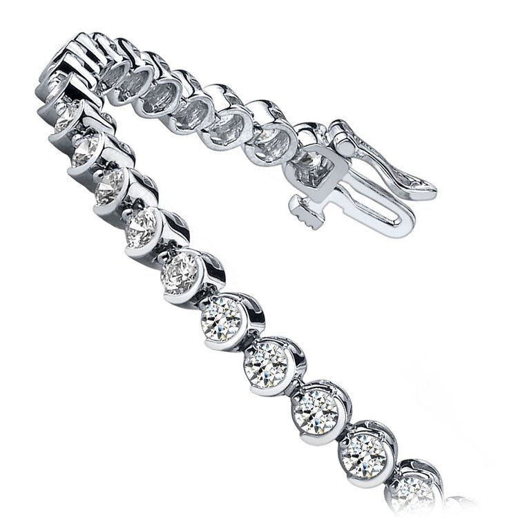 Half Moon Diamond Bracelet in White Gold (5 ctw) | 02