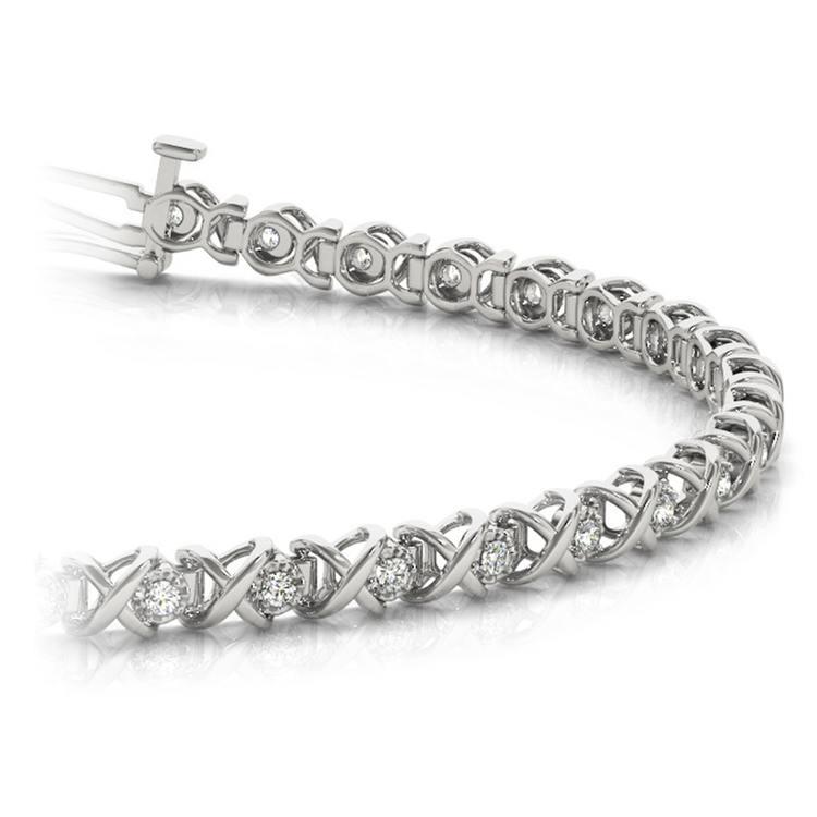 XO Diamond Link Bracelet in White Gold (3/8 ctw) | 01