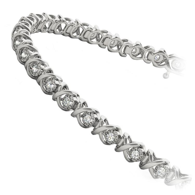 XO Diamond Link Bracelet in White Gold (3/8 ctw) | 02
