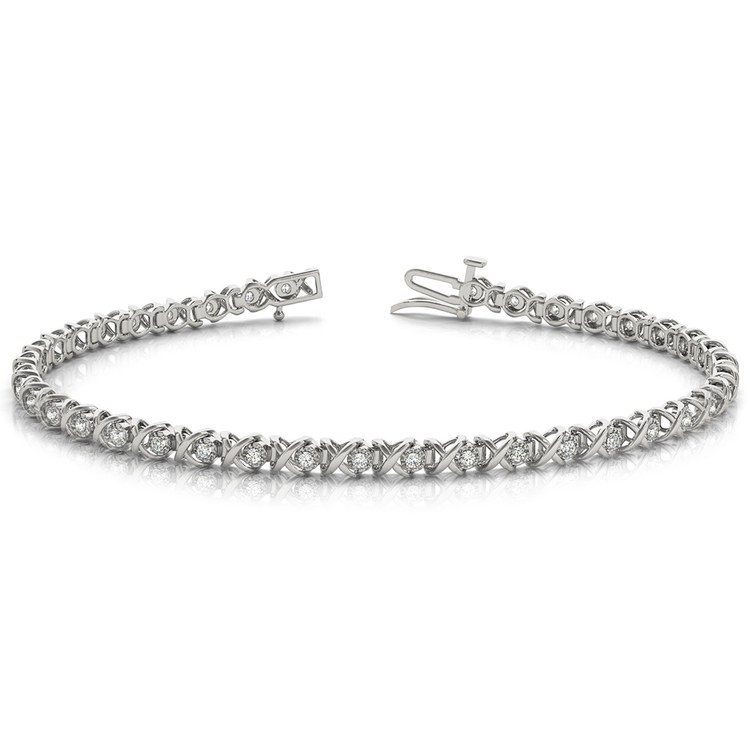 XO Diamond Link Bracelet in White Gold (3/8 ctw) | 03