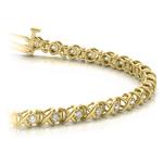 XO Diamond Link Bracelet In Gold (3/8 Ctw) | Thumbnail 01