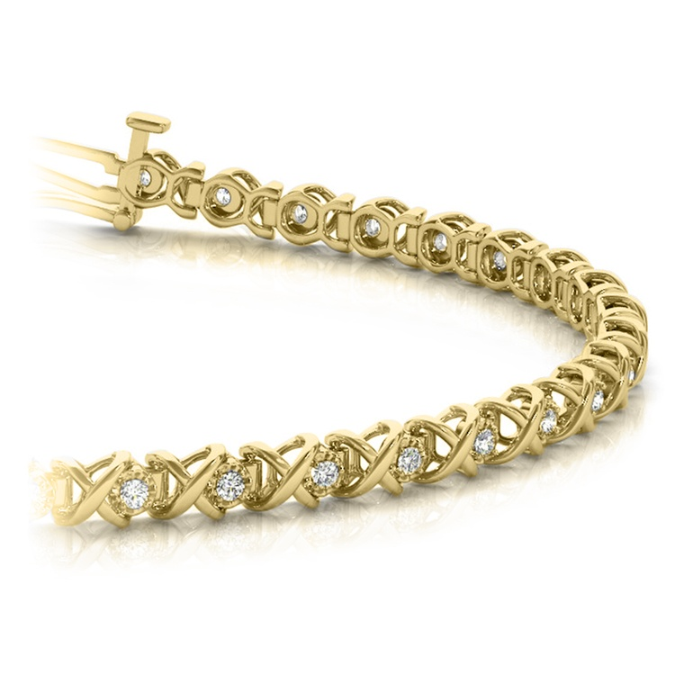 Xo Diamond Link Bracelet In Gold 3 8 Ctw