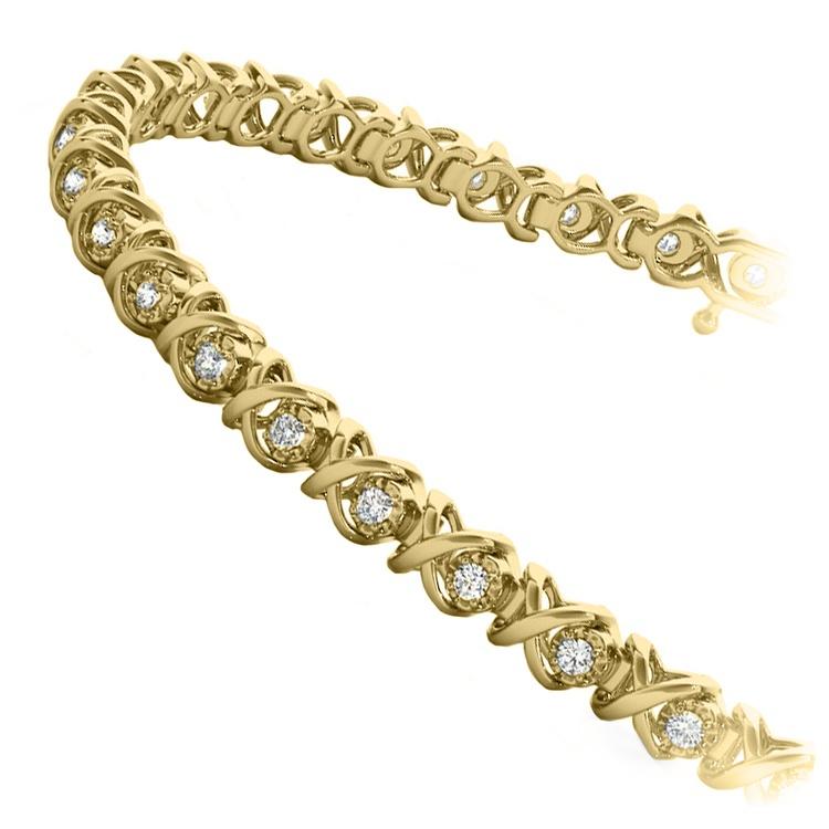 XO Diamond Link Bracelet In Gold (3/8 Ctw) | 02