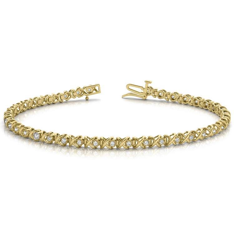 XO Diamond Link Bracelet In Gold (3/8 Ctw) | 03