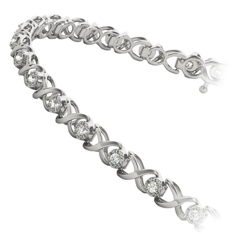 Delicate XO Diamond Bracelet in White Gold | 02