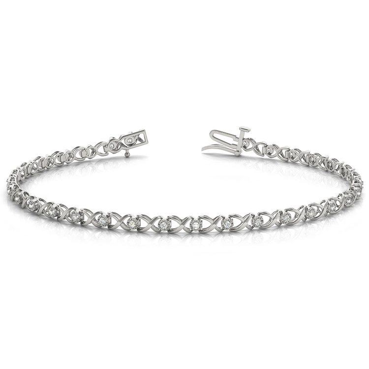 Delicate XO Diamond Bracelet in White Gold | 03