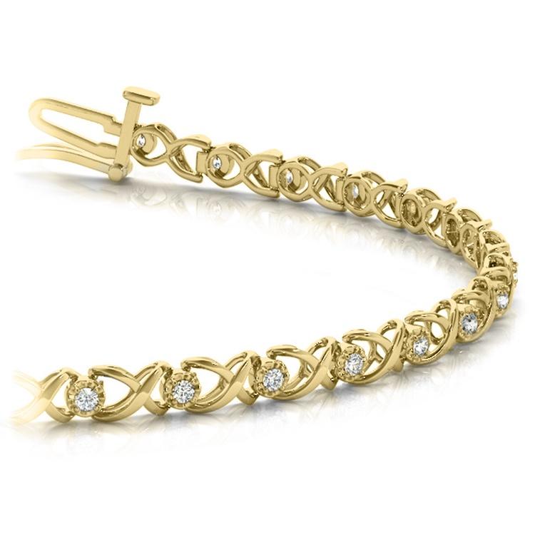 Delicate XO Diamond Bracelet in Yellow Gold | 01
