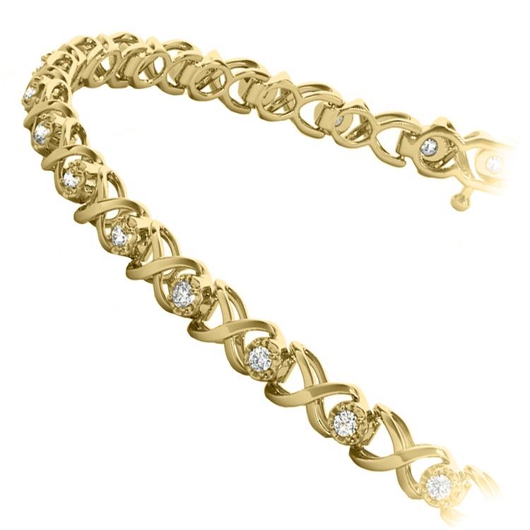 Delicate XO Diamond Bracelet in Yellow Gold | 02