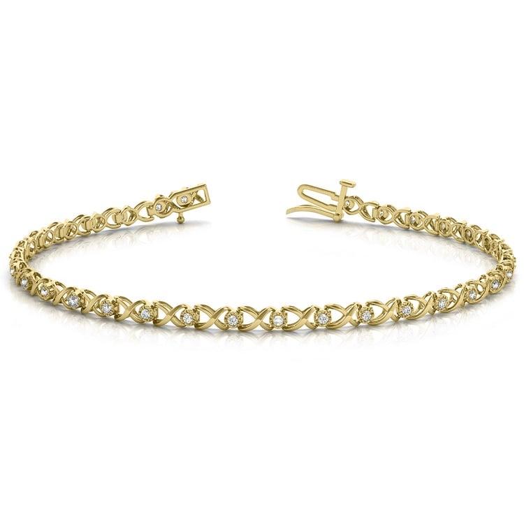 Delicate XO Diamond Bracelet in Yellow Gold | 03