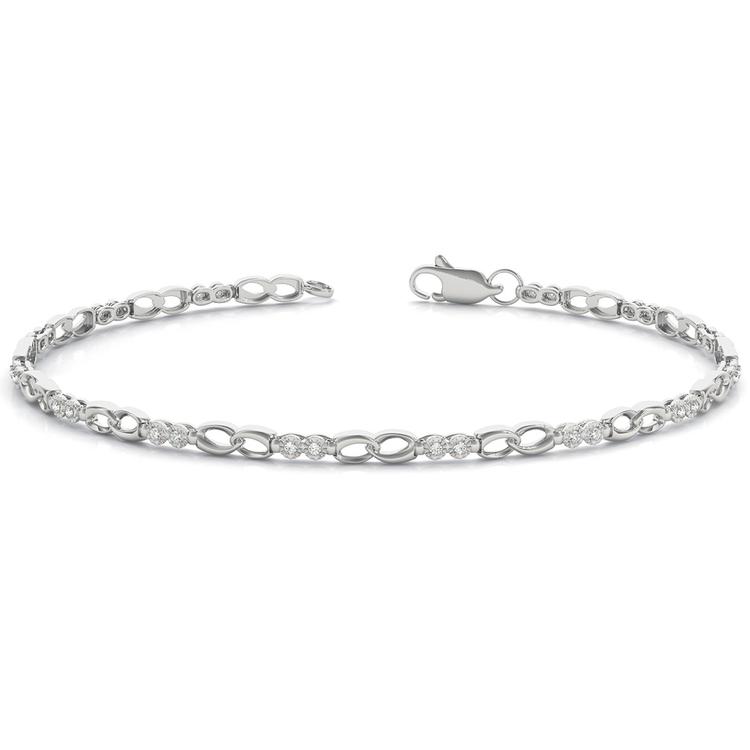 Delicate Link Diamond Bracelet in White Gold (1/8 ctw) | 03