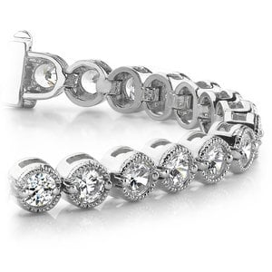 Milgrain Bezel Diamond Bracelet in White Gold (3 ctw)