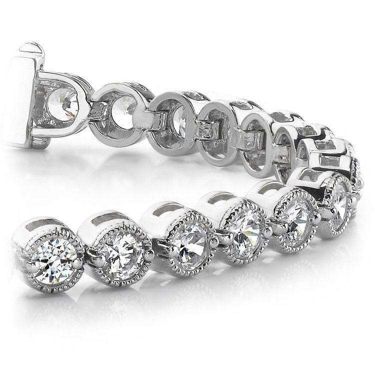 Milgrain Bezel Diamond Bracelet in White Gold (3 ctw) | 01