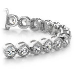 Milgrain Bezel Diamond Bracelet in White Gold (1 ctw) | Thumbnail 01