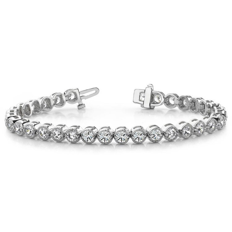Milgrain Bezel Diamond Bracelet in White Gold (1 ctw) | 03