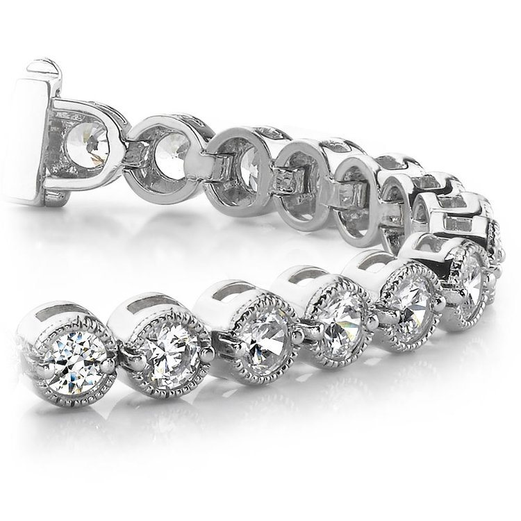 Milgrain Bezel Diamond Bracelet in White Gold (1 ctw) | 01