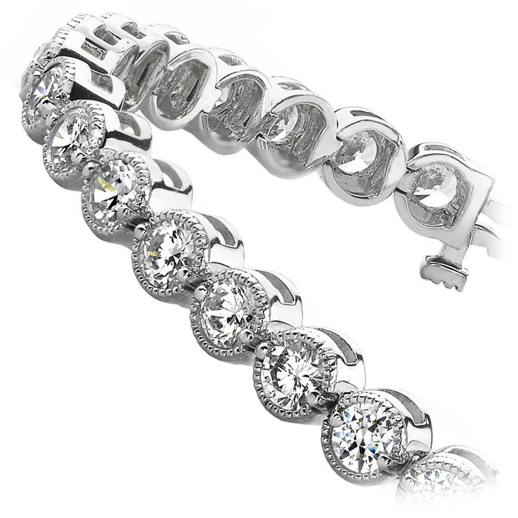 Milgrain Bezel Diamond Bracelet in White Gold (1 ctw) | 02