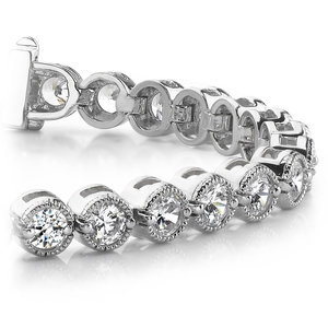 Milgrain Bezel Diamond Bracelet in White Gold (2 ctw)