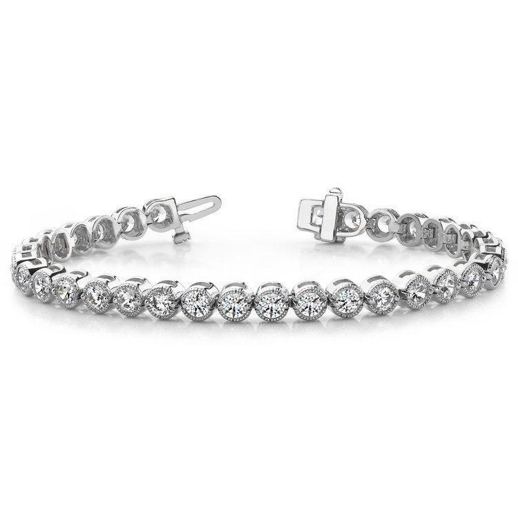 Milgrain Bezel Diamond Bracelet in White Gold (2 ctw) | 03