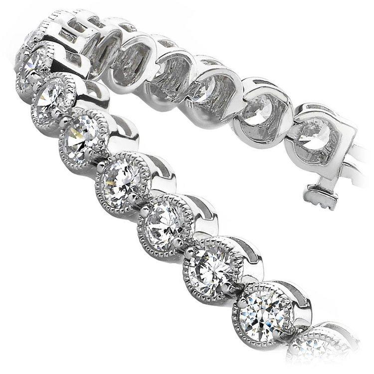 Milgrain Bezel Diamond Bracelet in White Gold (2 ctw) | 02