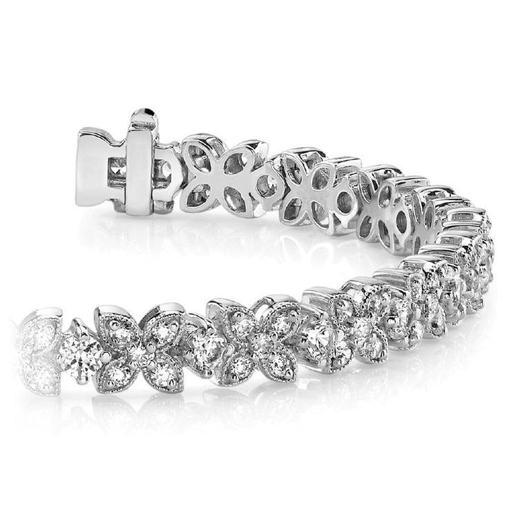 Milgrain Flower Diamond Bracelet in White Gold (3 ctw) | 01