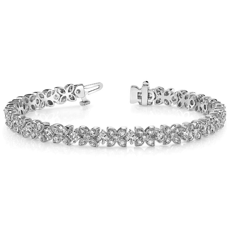 Milgrain Flower Diamond Bracelet in White Gold (3 ctw) | 03