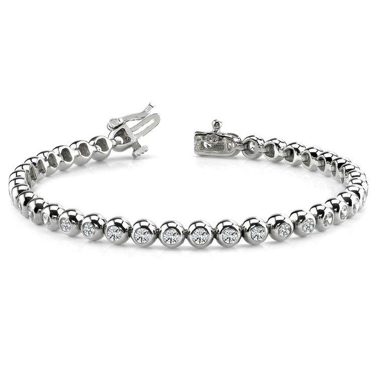 Modern Bezel Diamond Bracelet in White Gold (1 ctw) | 03