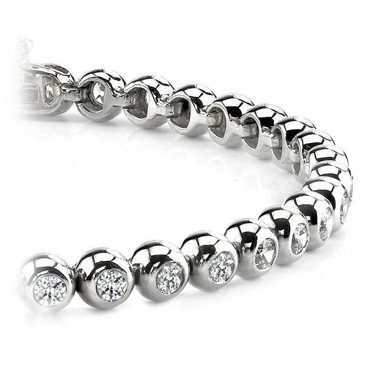 Modern Bezel Diamond Bracelet in White Gold (1 ctw) | 01