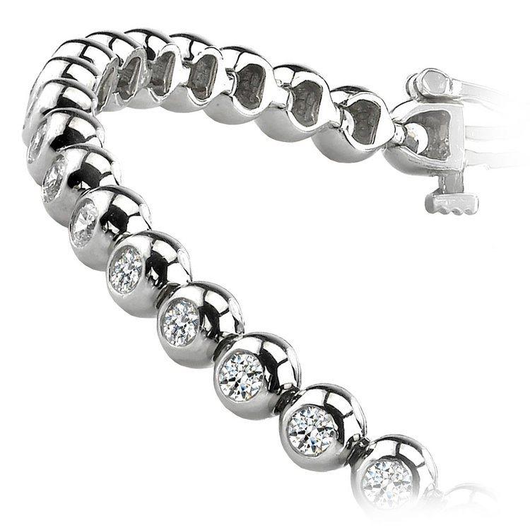 Modern Bezel Diamond Bracelet in White Gold (1 ctw) | 02