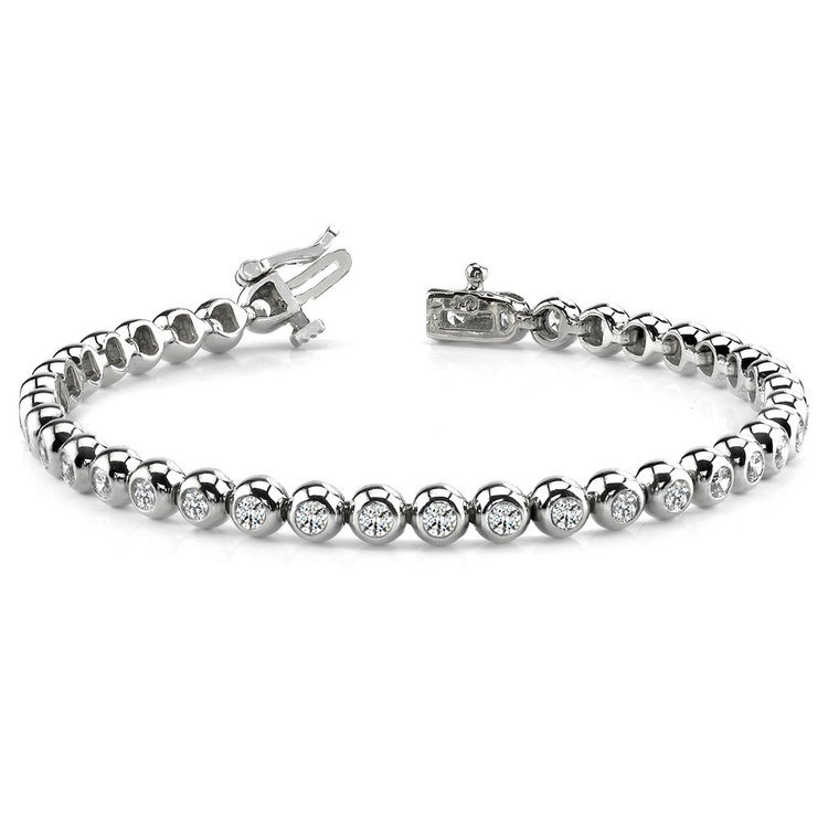Modern Bezel Diamond Bracelet in White Gold (2 ctw) | 03