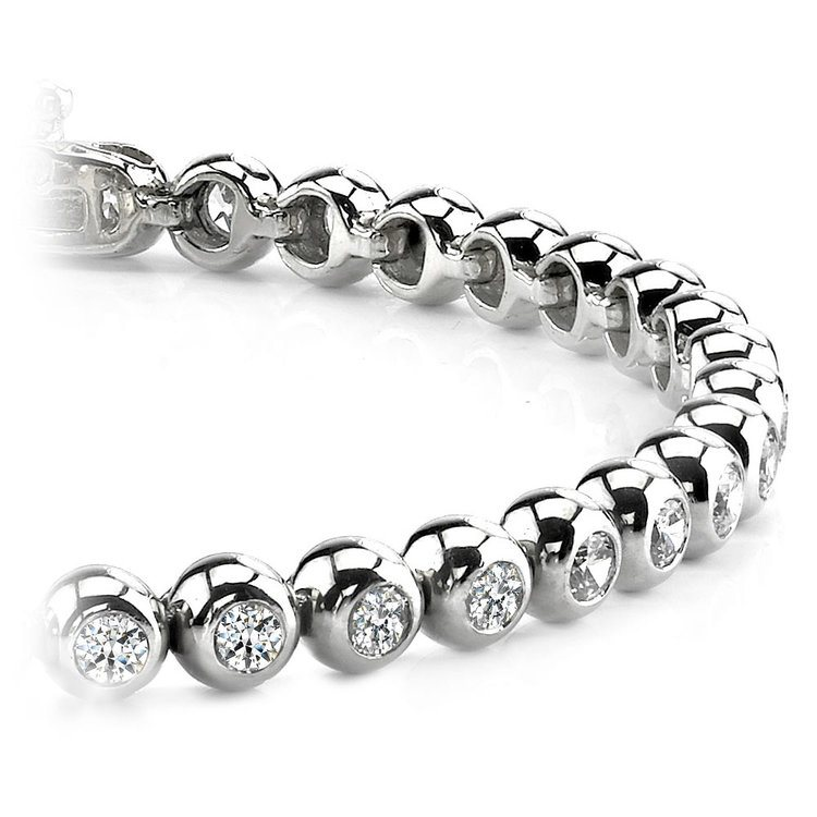 Modern Bezel Diamond Bracelet in White Gold (2 ctw) | 01