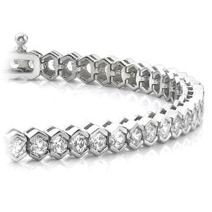 Modern Half Bezel Diamond Bracelet in White Gold (6 ctw)