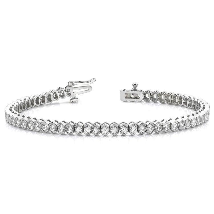 Modern Half Bezel Diamond Bracelet in White Gold (6 ctw)   03